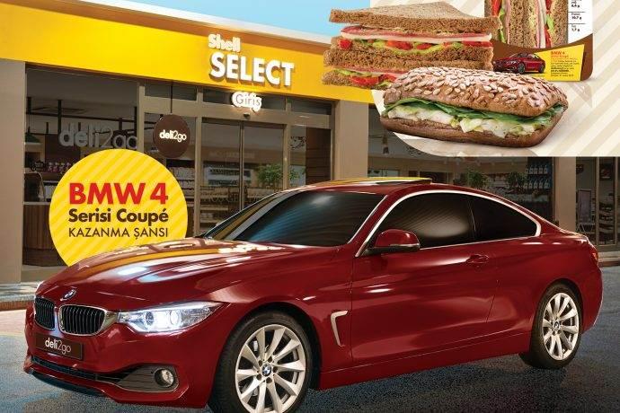 Shell deli2go'da sandviç al BMW 4 serisi Coupé kazan kampanyası