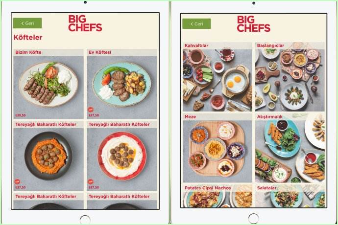 BigChefs'in menüleri dijitalleşti