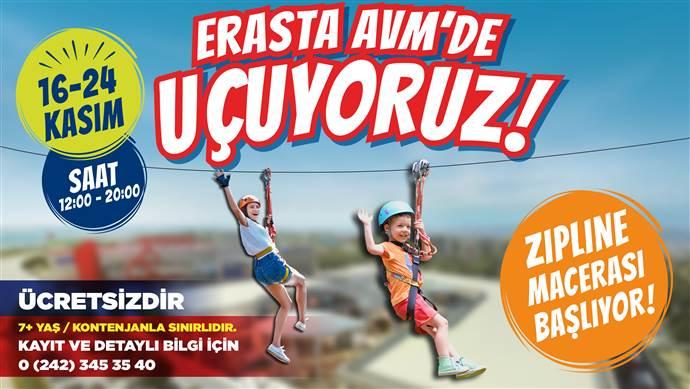 Erasta Antalya AVM'de Mobil Zipline ziyaretçileri bekliyor