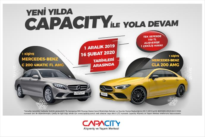 Capacity AVM yeni yılda 2 adet Mercedes-Benz hediye ediyor