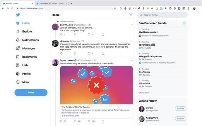 Twitter'ın yeni arayüzü kullanıma açıldı